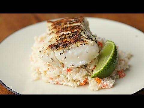 Cod With Confetti Coconut Rice • Tasty