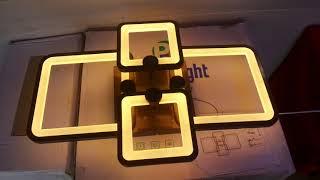 Коричневая led люстра квадраты!!! Сборка подключение режимы работы выключателем и настройка пультом!