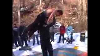 crazy backyard wrestling snow match