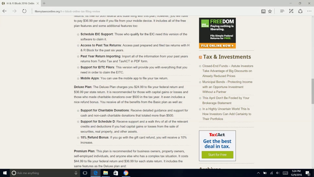 H R Block 2018 Online Tax Filing Review Youtube