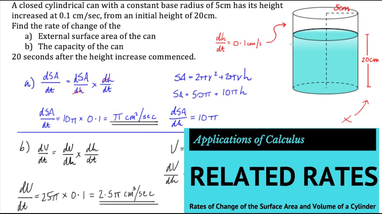 Related Rates Finding The Rates Of Change Of Surface