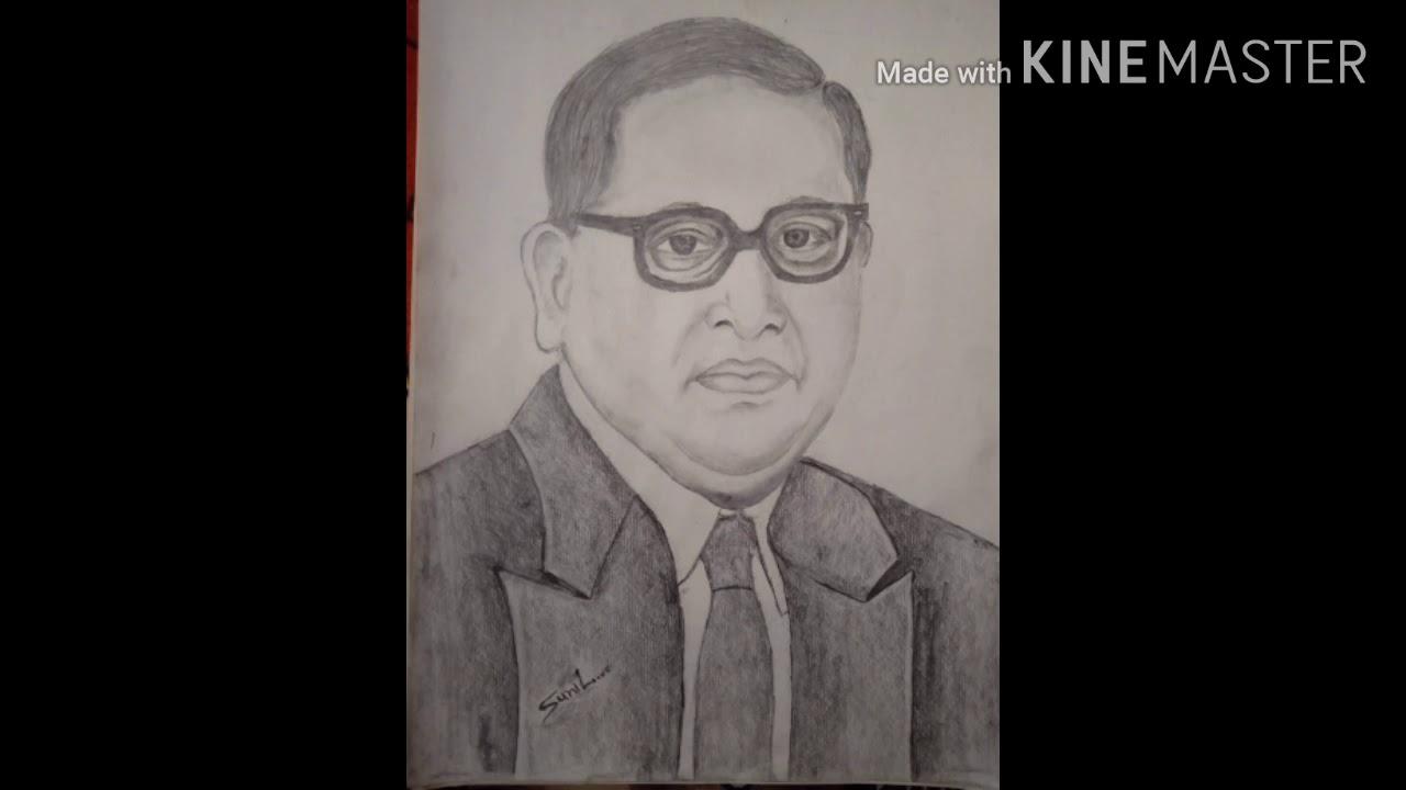 Pencil sketch of Dr. B. R. Ambedkar - YouTube