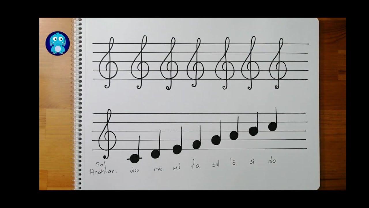 Sol anahtarı nasıl çizilir    Sol anahtarı çizimi    treble clef drawing for beginners