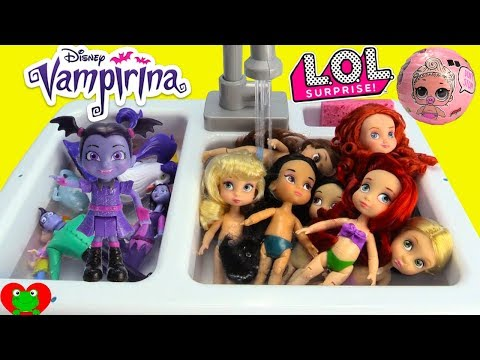 Vampirina Bubble Bath with Disney Princess Dress Up LOL Doll Surprises