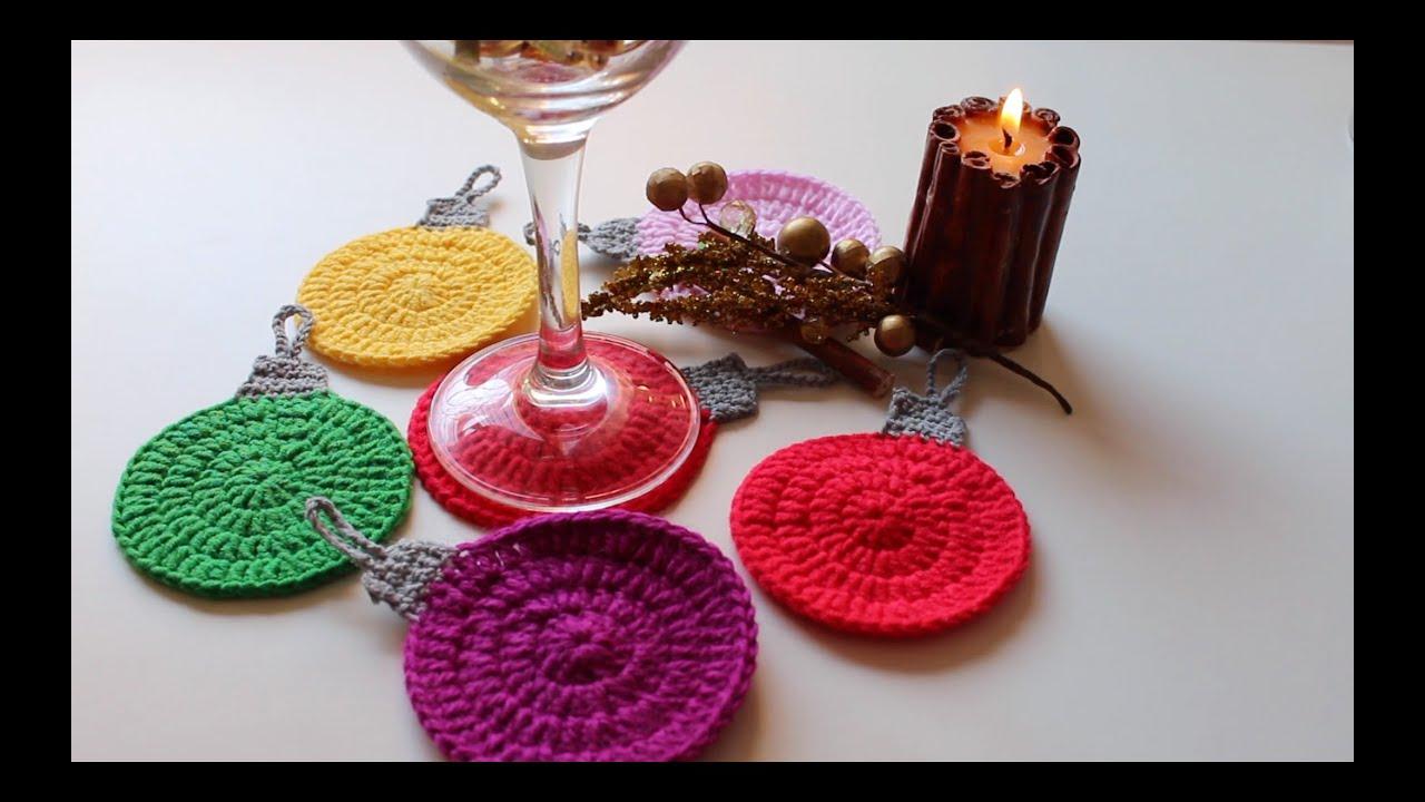 Posavasos de colores navidad colored coasters christmas - Posavasos de ganchillo ...