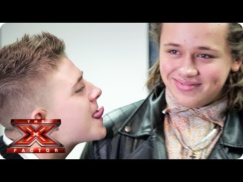 Why is Nicholas McDonald trying to lick Luke's face? - Samsung Video Diaries - The X Factor UK 2013