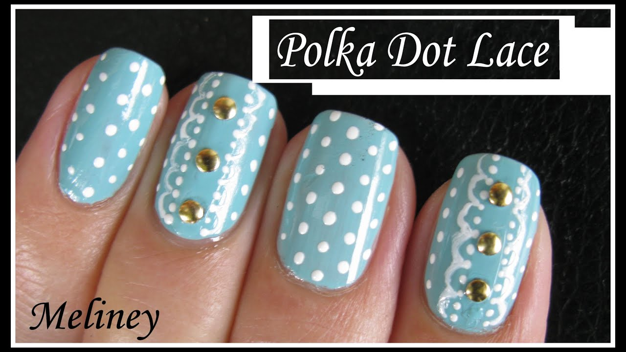DOT LACE NAIL ART DESIGN   RETRO VINTAGE NAIL TUTORIAL BEGINNERS EASY