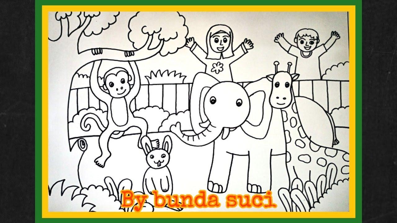 Cara menggambar kebun binatang    Zoo   bunda suci