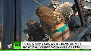 Scantily-clad girls in Putin's 'army' wash Russian-made cars