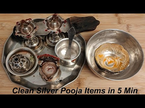Clean Silver Pooja Items in Just 5 Min||How to Clean Silver items at Home Easily