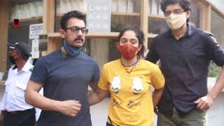 Aamir Khan With His Daughter Ira & Son Junaid Arrives At Cafe In Bandra 2021