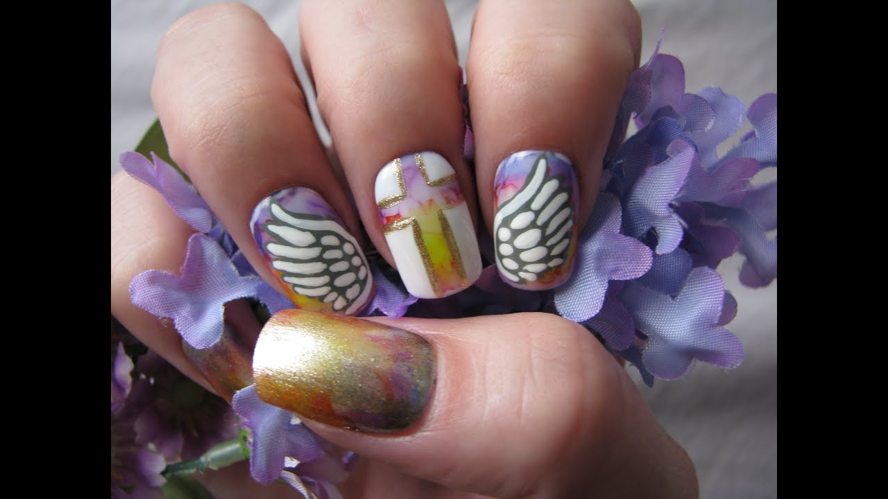 Angel Wings Nail Art Tutorial Youtube