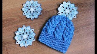 МК Теплая женская шапка крупными косами, связанная спицами.
