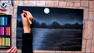 How to draw a night winterscape with pastels speed drawing by Thundy