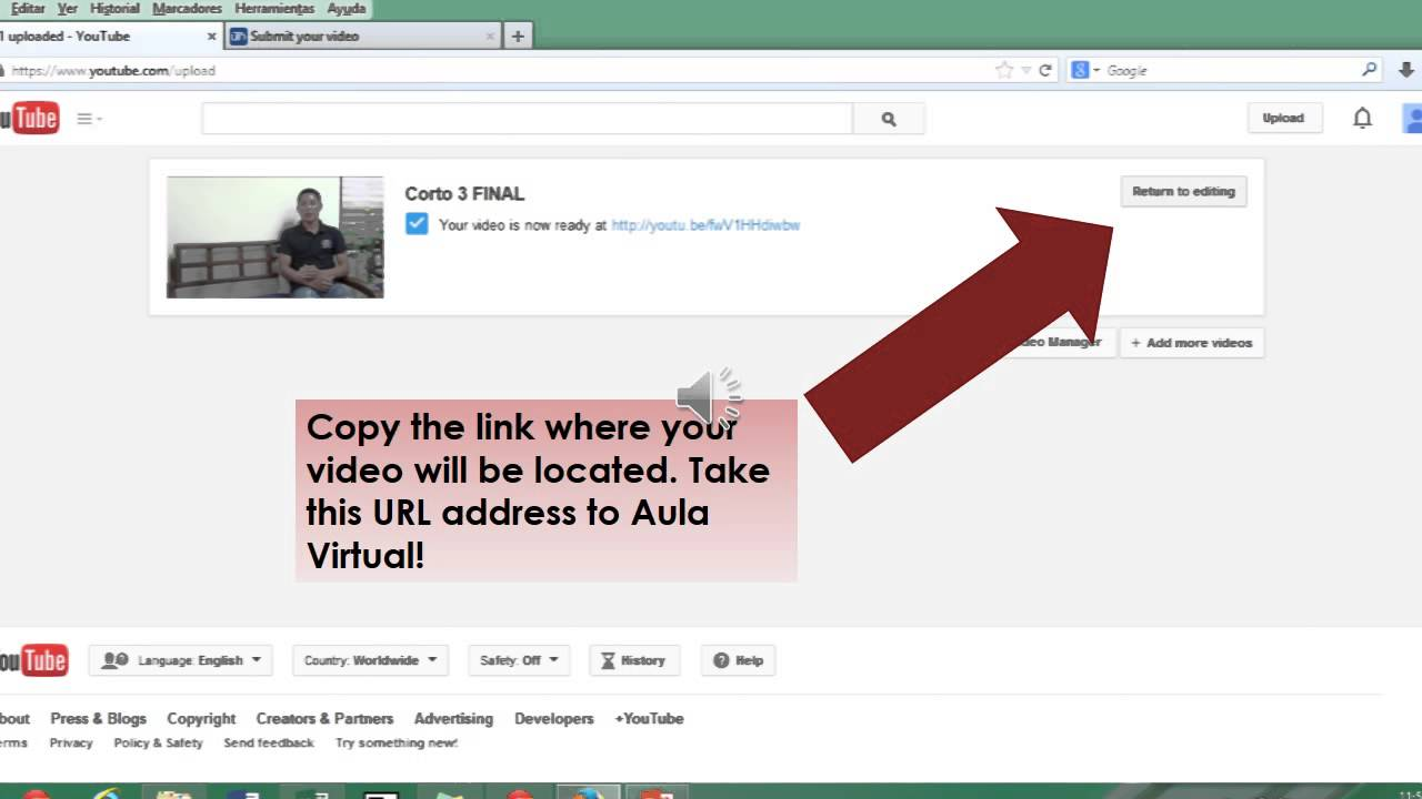 How to upload a video on youtube and share link on aula virtual - YouTube