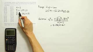Find the range, variance, aฑd standard deviation