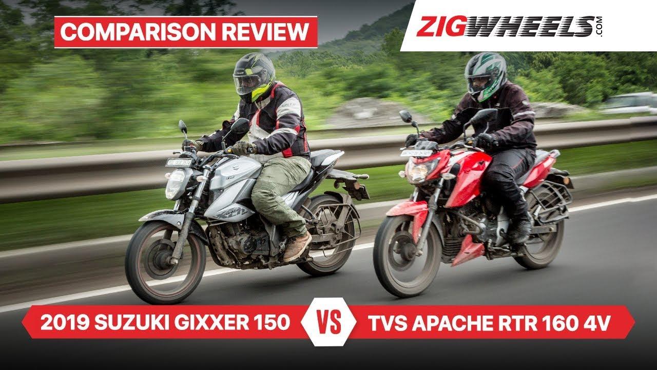 Suzuki Gixxer 2019 vs TVS Apache RTR 160 4V & Performance