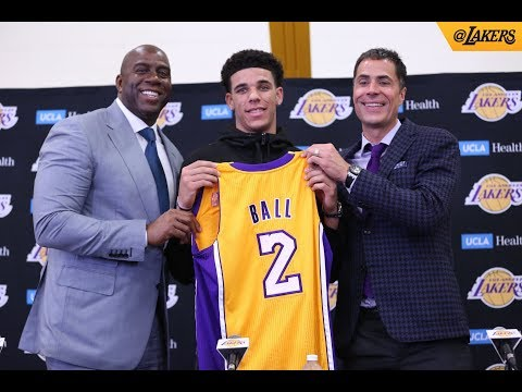 Lonzo Ball Lakers Introduction Press Conference, Magic Johnson praises him
