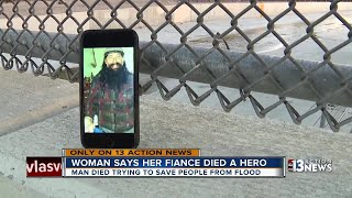 Woman says fiance died trying to save people from floods