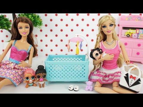 Barbie ganha Bebê e abre Boneca LOL Surprise Dolls Lil Sisters - Novelinha da Barbie Beatriz