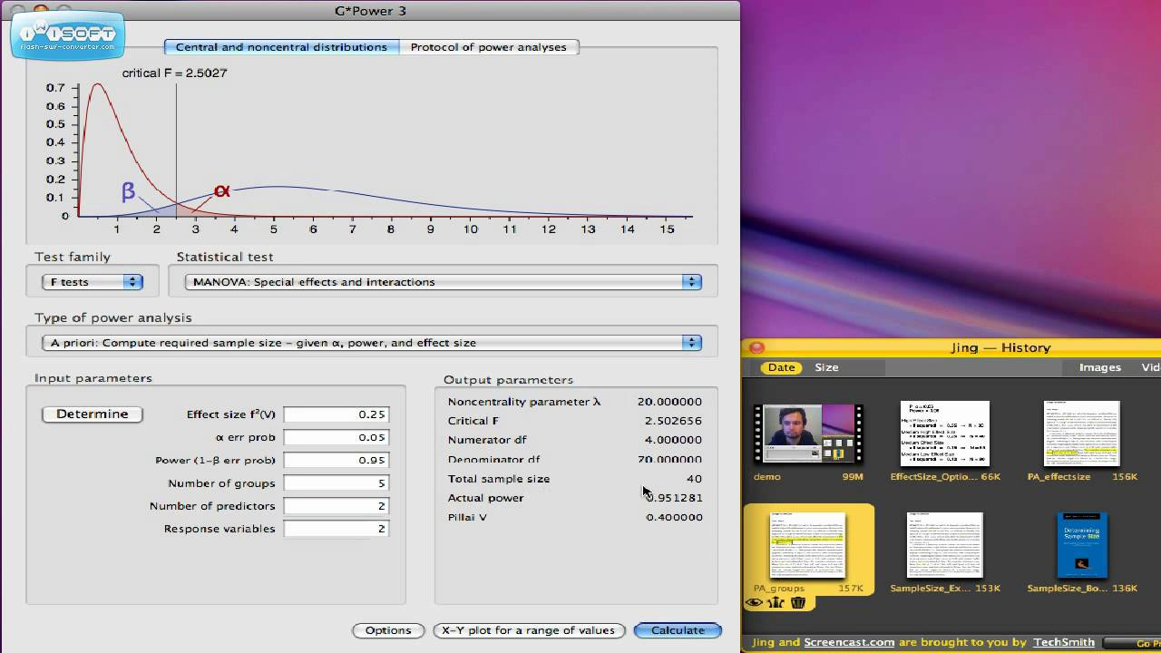 Using GPower to calculate Sample Size (A Priori) HD - YouTube