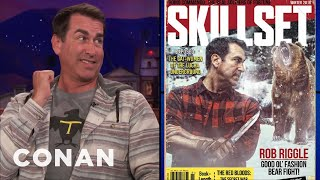 rob riggle teaches conan how to survive a bear encounter   conan on tbs