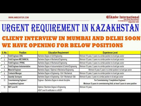 Jobs In Kazakhstan, Russia, Ksa, Kuwait, Oman And Qatar