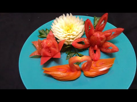 Cara Mudah Membuat Hiasan Dari Tomat - Tomato Carving Garnish