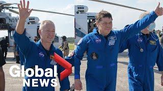 """Quite an odyssey"": NASA astronauts speak after historic splashdown in SpaceX capsule"