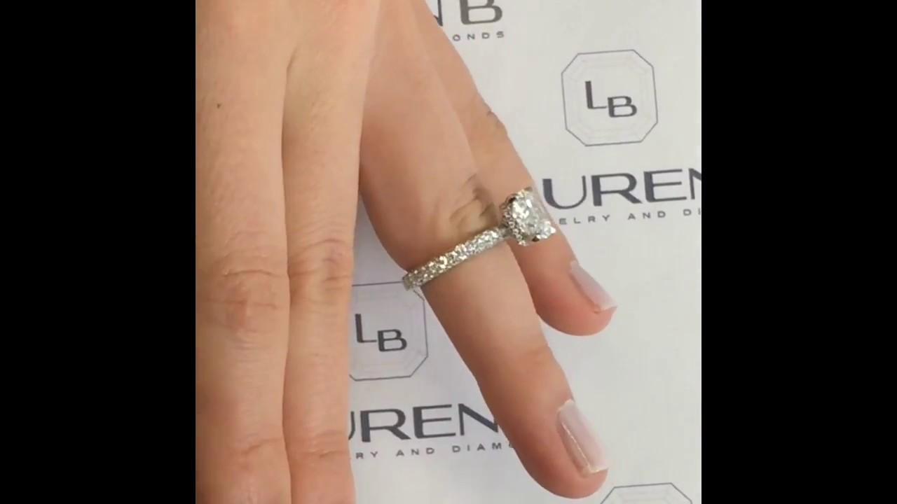 Carat cushion cut diamond engagement ring thin band youtube - 3 Carat Cushion Cut Diamond Engagement Ring