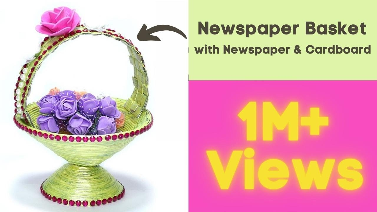 How to make diy newspaper basket best out of waste paper for Craft work from waste items