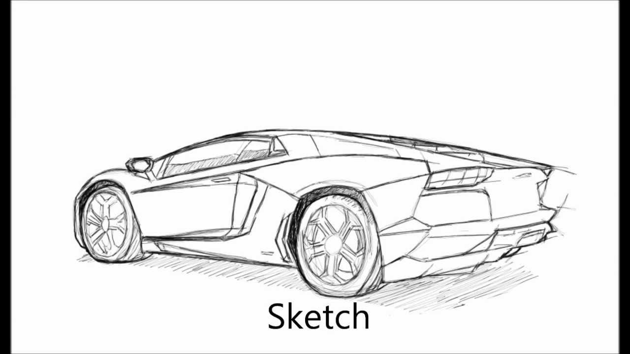 speed painting lamborghini aventador lp 700 4 walkthrough - Lamborghini Black And White Drawing