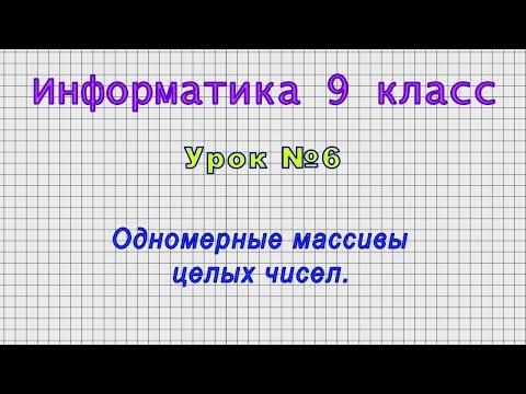 Информатика 9 класс Урок№6   Одномерные массивы целых чисел.