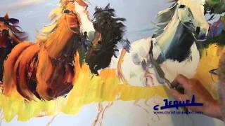 """02-Demonstration of knife painting by Christian Jequel: """"Horses"""""""