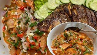 ជ្រកប៉េងប៉ោះនិងត្រីចៀន ||Tomatoes Salad and Fried Talipia Fish Recipe || Khmer Food|| Cambodian Food