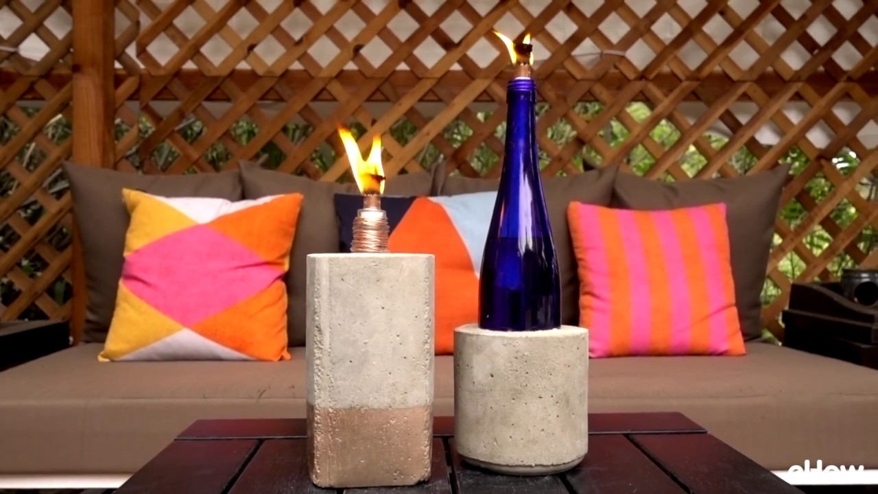DIY Tabletop Concrete Tiki Torches