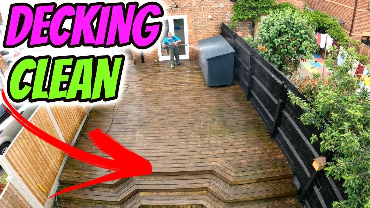 Pressure washing dirty decking