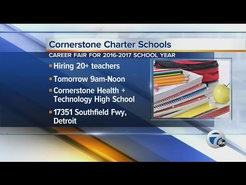 Cornerstone Charter Schools are hiring more than 20 teachers for the upcoming school year