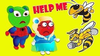 mega gummy bear superhero finger family nursery rhymes for kids   bee attack elsa bear