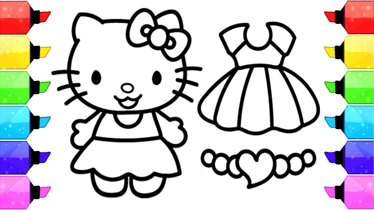 Hello kitty coloring pages how to draw hello kitty dress up game