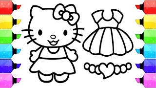 HELLO KITTY Coloring Pages | How to Draw Hello Kitty Dress up Game