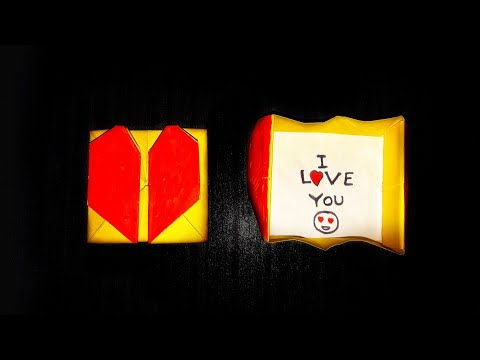 Origami heart Box with secret Message-Easy tutorial|Origami Heart box and Envelope|Stop Motion Lover