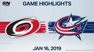 NHL Highlights   Hurricanes vs. Blue Jackets – Jan. 16, 2020