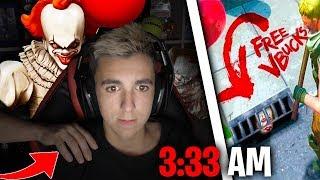 Aparece el PAYASO de IT mientras juego Fortnite a las 3:33 AM...🤡(Me asusto!) me trolean :v