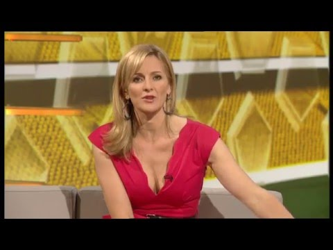 Gabby Logan (Yorath) looking sexy with cleavage on BBC Match of the Day clip