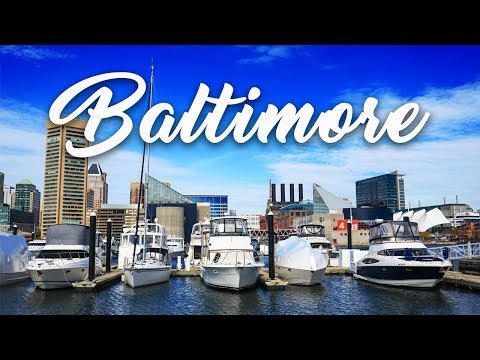 A drone flight at the Baltimore Inner Harbor in Maryland: Aerial 4k