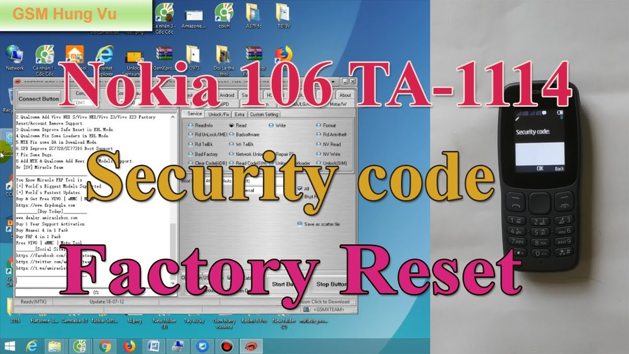 Factory Reset Nokia 106 TA-1114 Security Code done  - Gsm