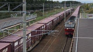 函館本線・幌向駅で貨物列車がすれ違う。LOVE HOKKAIDO!
