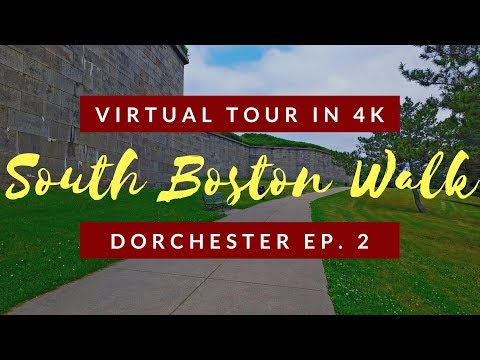 Spaziergang von Dorchester Heights zum Fort Independence - Teil 2 - South Boston Virtual Tour in 4K