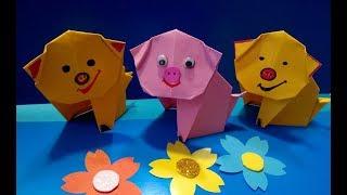 ПОРОСЁНОК. Легкое Оригами для Детей своими руками. Видео/свинка оригами для начинающих детей